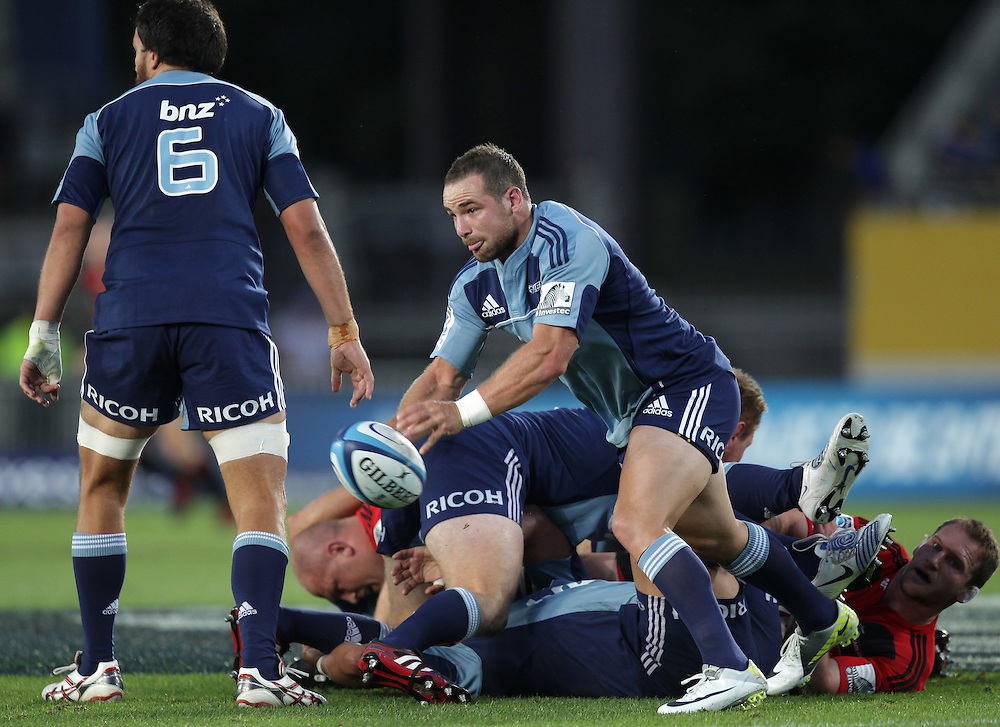 Blues' Alby Mathewson clears the ball whilst playing against the Crusaders in a Super Rugby match, Eden Park, Auckland, New Zealand, Friday, February 24, 2012.  Credit:SNPA / David Rowland
