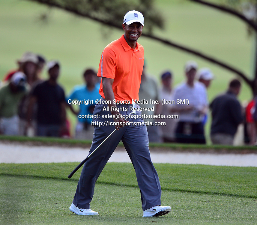 April 8, 2013 - Augusta, Georgia, U.S. - Tiger Woods walks on the No. 18 green during the first practice round of the 2013 Masters Tournament at Augusta National Golf Club on April 8, 2013, in Augusta, Ga.