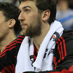 06 February 2009: Toronto Raptors center Andrea Bargnani (7) sits on the bench during a NBA game between the New Orleans Hornets and the Toronto Raptors at the New Orleans Arena in New Orleans, LA.