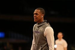 February 27, 2019 - Los Angeles, CA, U.S. - LOS ANGELES, CA - FEBRUARY 27: Los Angeles Lakers Guard Rajon Rondo (9) before the New Orleans Pelicans versus Los Angeles Lakers game on February 27, 2019, at Staples Center in Los Angeles, CA. (Photo by Icon Sportswire) (Credit Image: © Icon Sportswire/Icon SMI via ZUMA Press)