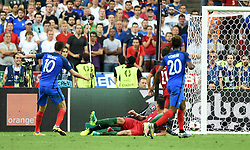Andre-Pierre Gignac of France hits the post  - Mandatory by-line: Joe Meredith/JMP - 10/07/2016 - FOOTBALL - Stade de France - Saint-Denis, France - Portugal v France - UEFA European Championship Final