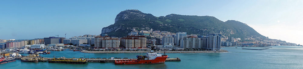 A panoramic view Gibraltar, including the rock.