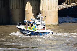 © Licensed to London News Pictures. 05/05/2018. London, UK. A police boat seen on the River Thames near London Bridge where earlier this morning the Metropolitan Police reported that London Bridge had closed due to theft of a van which resulted in the driver falling in the River Thames.  Photo credit: Vickie Flores/LNP
