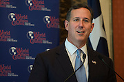 Rick Santorum speaks at a campaign luncheon in Fort Worth, Texas on October 12, 2015. (Cooper Neill for The Texas Tribune)