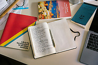"""ROME, ITALY - 21 FEBRUARY 2020:  Notebooks and books are seen here in the studio of Italian novelist and essayist Sandro Veronesi in Rome, Italy, on February 21st 2020.<br /> <br /> In 2006 Sandro Veronesi won the Strega Prize, the most prestigious Italian literary award, with his book """"Caos Calmo"""". His latest novel is """"Il Colibrì"""" (2019)."""