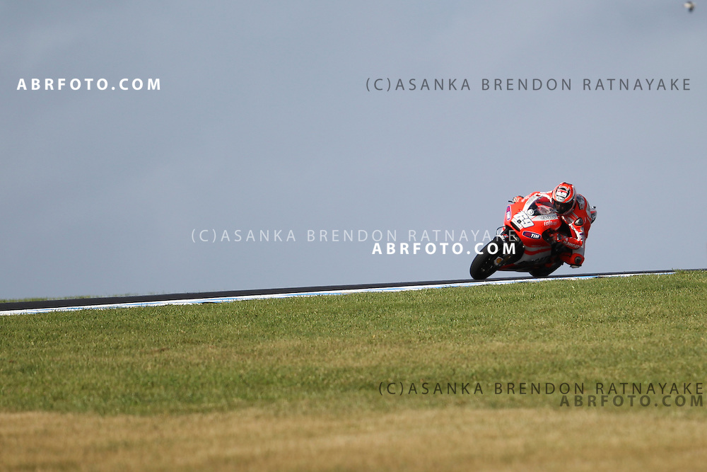 16 October 2011: American Nicky Hayden (69) riding the factory Ducati exits turn 9 during the IVECO Australian MotoGP Grand Prix at the Phillip Island Circuit in Phillip Island, Victoria, Australia.