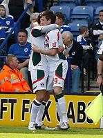 Photo: Steve Bond/Richard Lane Photography. Leicester City v Carlisle United. Coca Cola League One. 04/04/2009. Michael Bridges(L) and Danny Graham (R) celebrate Bridges goal