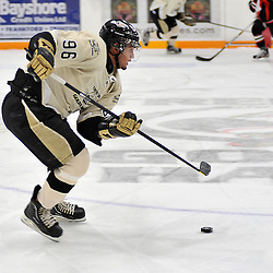 TRENTON, ON - Jan 5 : Ontario Junior Hockey League game between Stouffville Spirit and Trenton Golden Hawks. Sammy Banga #96 of the Trenton Golden Hawks skates with the puck during first period game action..(Photo by Shawn Muir / OJHL Images)
