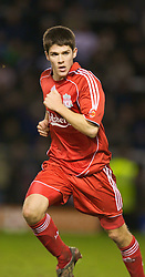 WARRINGTON, ENGLAND - Tuesday, February 26, 2008: Liverpool's Ryan Flynn in action against Manchester United during the FA Premiership Reserves League (Northern Division) match at the Halliwell Jones Stadium. (Photo by David Rawcliffe/Propaganda)