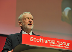 Labour leader Jeremy Corbyn delivers his keynote speech at the Scottish Labour conference at the Caird Hall in Dundee.<br /> <br /> &copy; Dave Johnston / EEm