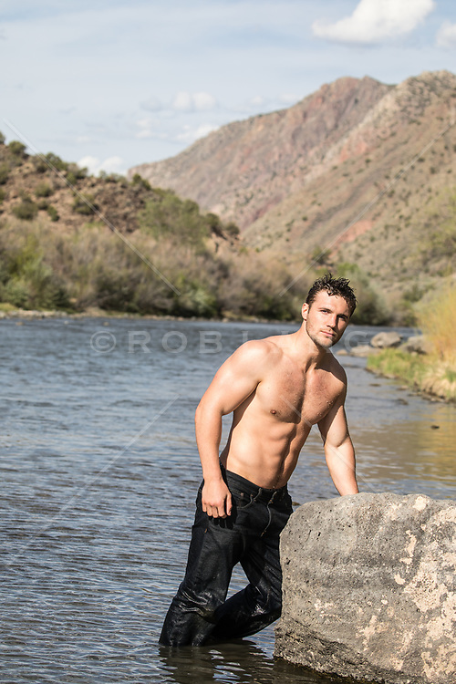 hot man without a shirt in The Rio Grande, NM