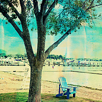 Blue chair at the Wayzata beach enhanced with color and texture.
