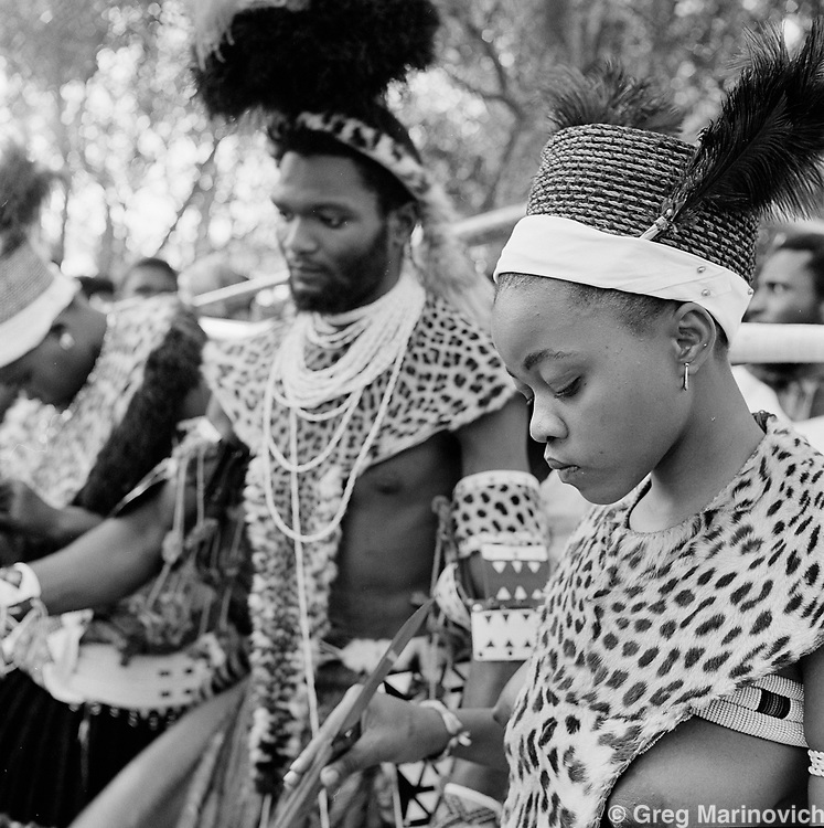 Ekuphakameni, KwaZulu Natal. A young girl at her wedding during a mass marriage ceremony at the headquarters of the Nazareth Baptist Church, or Shembe, is a staunchly traditionalist Zulu cult that was founded in 1913 by Isiah Shembe after a vision. Their beliefs are a mix of Old and New Testament and the ancestral veneration of traditional Zulu culture.