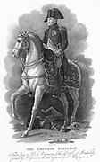 Napoleon I (Bonaparte) 1769-1821. Emperor of France from 1804. Napoleon at Austerlitz,2 December 1805. Engraving after the equestrian portrait by Gerard.