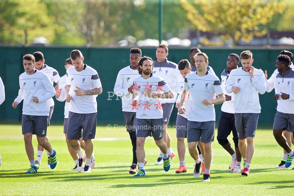LIVERPOOL, ENGLAND - Wednesday, May 4, 2016: Liverpool's Martin Skrtel, Joe Allen, Lucas Leiva and Adam Lallana during a training session at Melwood Training Ground ahead of the UEFA Europa League Semi-Final 2nd Leg match against Villarreal CF. (Pic by David Rawcliffe/Propaganda)