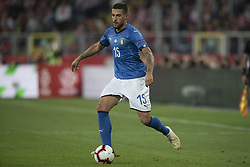 October 14, 2018 - Chorzow, Poland - Cristiano Biraghi of Italy during the UEFA Nations League A match between Poland and Italy at Silesian Stadium in Chorzow, Poland on October 14, 2018  (Credit Image: © Andrew Surma/NurPhoto via ZUMA Press)