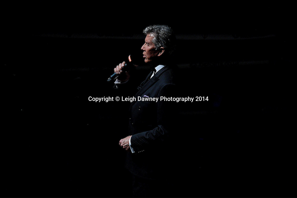 MC Michael Buffer announces the fight between George Groves and Christopher Rebrasse for the EBU (European) Super Middleweight Title & Vacant WBC Super Middleweight Title at the SSE Wembley Arena, London on the 20th September 2014. Sauerland Promotions. Credit: Leigh Dawney Photography.