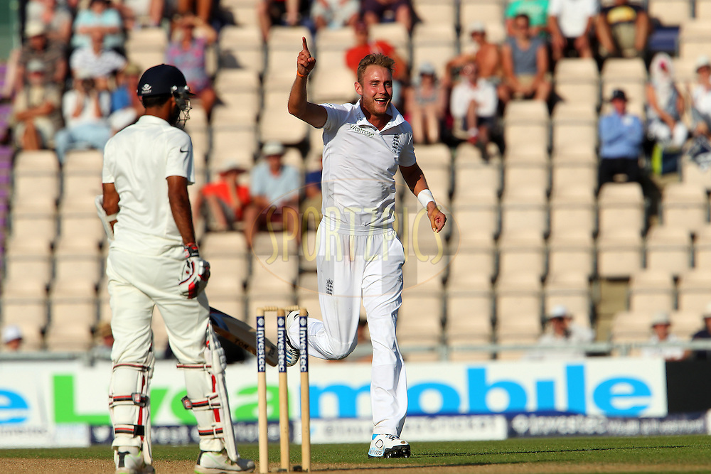 Stuart Broad of England celebrates the wicket of Bhuvaneshwar Kumar of India during day three of the third Investec Test Match between England and India held at The Ageas Bowl cricket ground in Southampton, England on the 29th July 2014<br /> <br /> Photo by Ron Gaunt / SPORTZPICS/ BCCI