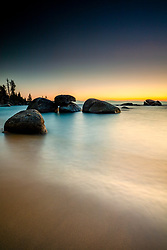 """""""Sunset at Whale Beach, Tahoe 7"""" - Sunset photograph shot at Whale Beach, Lake Tahoe."""