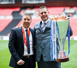 Peterborough Manager Darren Ferguson (SCO) and Chairman Darragh MacAnthony celebrate with the trophy after a 3-1 win in the match - Photo mandatory by-line: Rogan Thomson/JMP - 07966 386802 - 30/03/2014 - SPORT - FOOTBALL - Wembley Stadium, London - Chesterfield FC v Peterborough United - Johnstone's Paint Trophy Final.