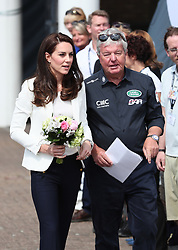 The Duchess of Cambridge is greeted by Sir Keith Mills as she arrives to attend the 1851 Trust charity's final Land Rover BAR Roadshow at Docklands Sailing and Watersports Centre in London.