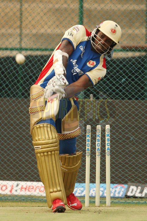Chris Gayle during Royal Challengers Bangalore practice session and press conference held at the M. Chinnaswamy Stadium, Bengaluru on the 9th April 2012..Photo by Jacques Rossouw/IPL/SPORTZPICS