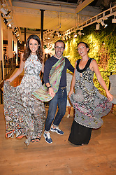 Left to right, ROSANNA FALCONER, GEORGE RYAN and ELLIE VANDOORNE at a party to celebrate the launch of Matthew Williamson: Fashion, Print and Colouring Book held at Anthropologie, 158 Regent Street, London on 8th September 2016.