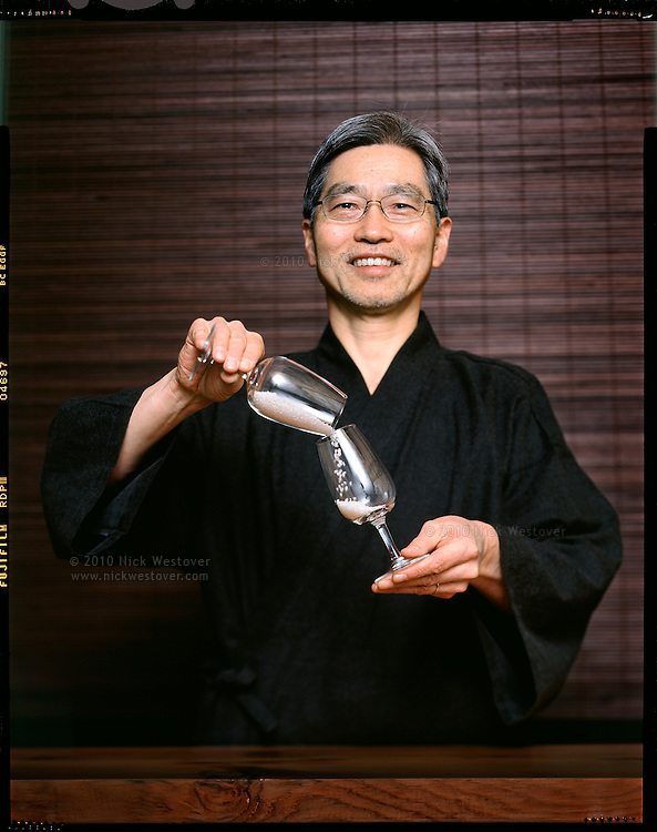 Portrait of sake maker Masa Shiroki at his shop on Vancouver's Granville Island.