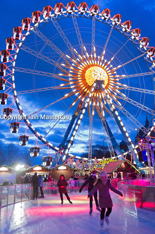 Traditional Christmas market at Alexanderplatz in Mitte Berlin Germany