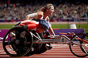 Melissa Nicholls of Great Britain in the women's 100 meter t34 round 1 heat 1 at the Olympic Stadium on day 2 of the London 2012 Paralympic Games. 31st August 2012..