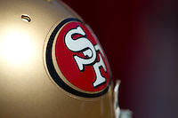 18 September 2011: A San Francisco 49ers helmet sits on the sideline against the Dallas Cowboys during the first half of the Cowboys 27-24 overtime victory against the 49ers in an NFL football game at Candlestick Park in San Francisco, CA
