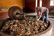 A worker chops roasted blue agave hearts before crushing into mash in a mill at an artisanal Mezcal distillery November 5, 2014 in Matatlan, Mexico. Making Mezcal involves roasting the blue agave, crushing it and then fermenting the liquid.