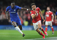 Football - 2017 / 2018 EFL (League) Cup - Third Round: Chelsea vs. Nottingham Forest<br /> <br /> Tyler Walker of Forest who is the son of the Forest International Des Walker, takes on Antonio Rudiger at Stamford Bridge.<br /> <br /> COLORSPORT/ANDREW COWIE