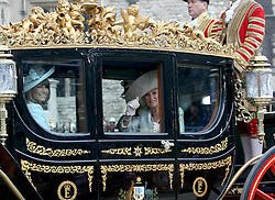 29 April 2011. London, England..Royal wedding day. Prince Charles leaves Westminster with with Lady Camilla and Carole Middleton, mother of the bride...Photo; Charlie Varley.