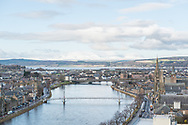 The view from the roof of Inverness Castle on a cold winter's day.