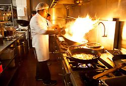 The kitchen at Madam Tusan restaurant in Lima, Peru.