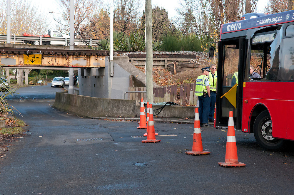 The scene of an accident when a school bus hit a low rail overbridge on Richardson Terrace, Christchurch, New Zealand, Tuesday May 29, 2012. Credit: SNPA /  David Alexander.