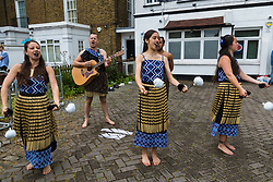 Maori singers entertain the crowds outside the stadium as fans flock to Lords Cricket Ground, the Home of Cricket to watch the ICC Cricket World Cup final between England and New Zealand. London, July 14 2019.