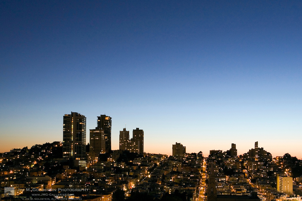 Sunset view of the Pacific Heights skyline in San Francisco