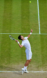 02.07.2014, All England Lawn Tennis Club, London, ENG, ATP Tour, Wimbledon, im Bild Novak Djokovic (SRB) during the Gentlemen's Singles Quarter-Final match on day nine // during the Wimbledon Championships at the All England Lawn Tennis Club in London, Great Britain on 2014/07/02. EXPA Pictures © 2014, PhotoCredit: EXPA/ Propagandaphoto/ David Rawcliffe<br /> <br /> *****ATTENTION - OUT of ENG, GBR*****