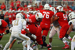 03 September 2016:  DeMarco Corbin looks for more yardage by going over the pile being created by Kyle Avaloy. NCAA FCS Football game between Valparaiso Crusaders and Illinois State Redbirds at Hancock Stadium in Normal IL (Photo by Alan Look)
