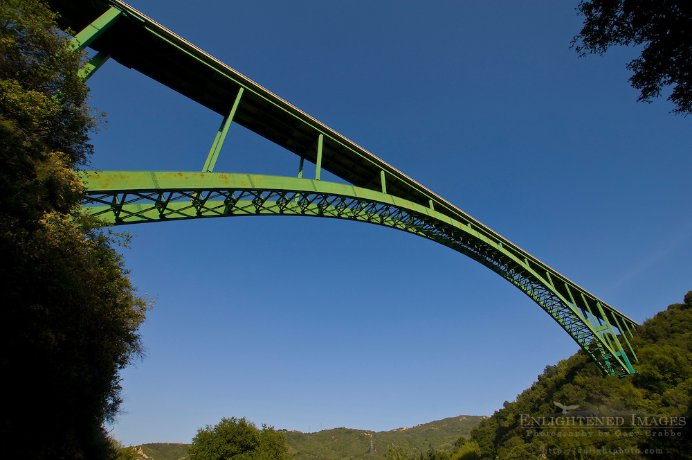 Steel arch bridge on Highway 154, bypassing the old stagecoach route between Santa Barbara and Santa Ynez, California