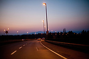 Frankfurt city highway with the view towards Taunus mountain.