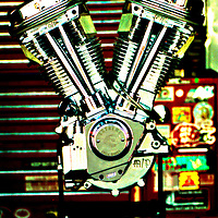 Motorcycle motor on stand .