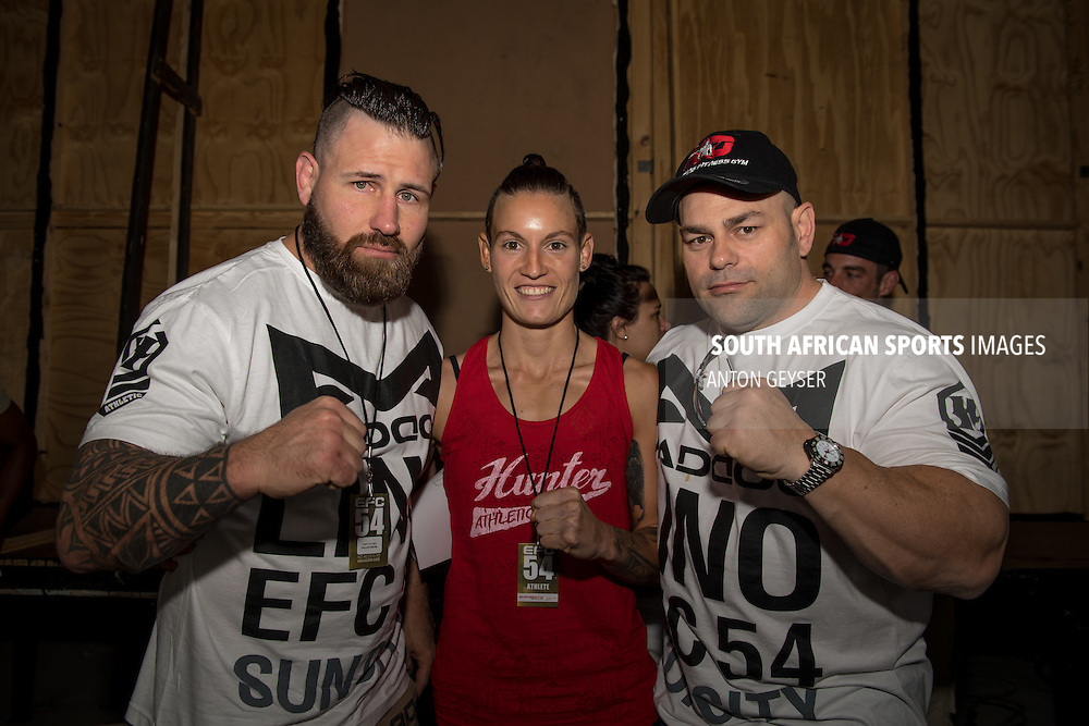 JOHANNESBURG, SOUTH AFRICA - OCTOBER 14: Amanda Lino of South Africa with her coaches during EFC 54 weigh in at Sun City on October 14, 2016 in Johannesburg, South Africa. (Photo by Anton Geyser/EFC Worldwide/Gallo Images)