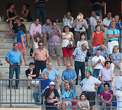 In the picture - Audience watch bullfighting.<br /> The 3 Bullfighters Juan Bautista, Fernando Robleno and Juan del Alamo bullfight 6 bulls at La Estudiantil Bullfight round (Plaza de Toros) in Alcala de Henares into the Saint Bartolome August Fair, Madrid, Spain on Friday, August 30, 2013. Photo by Eduardo Dieguez / DyD Fotografos<br /> SPAIN OUT