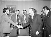 An Taoiseach Meets SDLP Delegation.  (N60)..1981..06.02.1981..02.06.1981..6th February 1981..At Government Buildings ,Leinster House Dublin, An Taoiseach, Mr Charles Haughey, met with a delegation from the SDLP. The delegation was led by Mr John Hume MEP..Image shows An Taoiseach, Charles Haughey TD being introduced to members of the SDLP delegation by Mr John Hume MEP leader of the SDLP. Behind Mr Haughey is the deputy leader of Fianna Fáil, Mr Brian Lenihan TD.