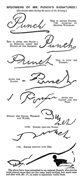 Specimen's of Mr Punch's Signatures! (Fac-similes taken during the course of the evening.)