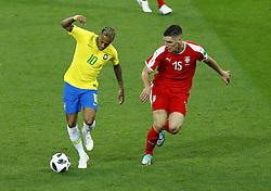 June 27, 2018 - Moscow, Russia - Group E Serbia v Brazil - FIFA World Cup Russia 2018.Neymar (Brazil) and Nikola Milenkovic (Serbia)  at Spartak Stadium in Moscow, Russia on June 27, 2018. (Credit Image: © Matteo Ciambelli/NurPhoto via ZUMA Press)