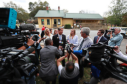 Secretary of State Brian Kemp, Republican candidate for Georgia governor, is surrounded by news media while taking questions after casting his vote at the Winterville Train Depot on Tuesday, Nov. 6, 2018, in Winterville, Ga. Photo by Curtis Compton/Atlanta Journal-Constitution/TNS/ABACAPRESS.COM